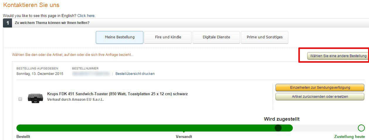 Notline Amazon Bestellung