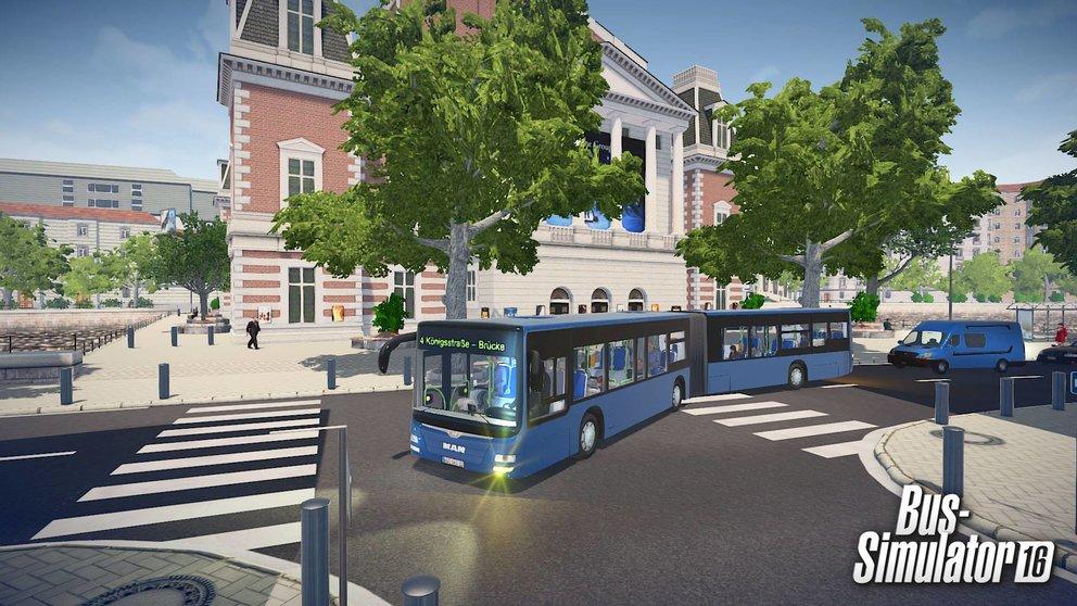 Bus-Simulator 16: Die fiktive Stadt Sunny Springs könnt ihr frei befahren.