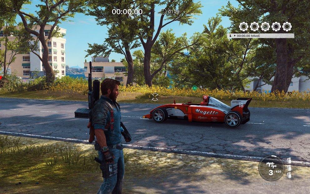 Der F1-Wagen wechselt die Farbe, wenn ihr die Herausforderung neu startet