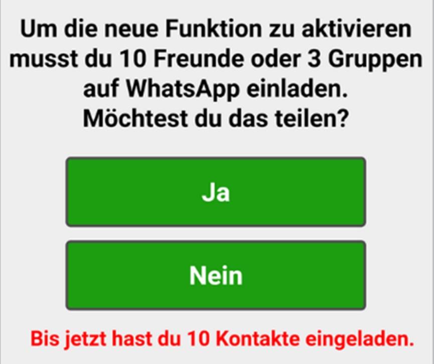 """whatsapp: """"finde heraus, mit wem deine freunde chatten."""": warnung, Einladung"""