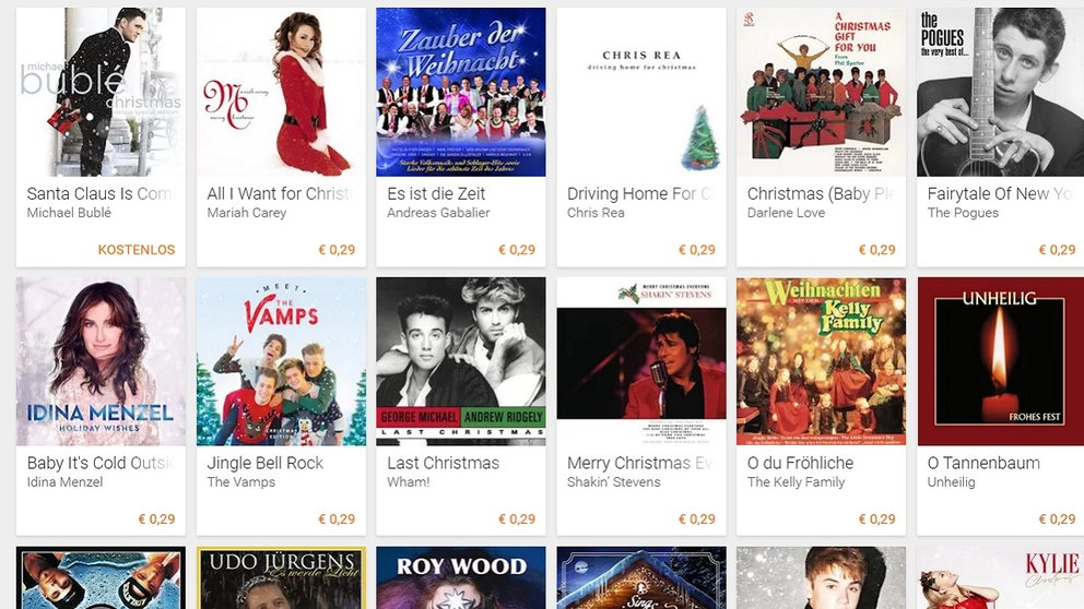 Google Play Music: Viele Weihnachtslieder für 29 Cent im Angebot – GIGA
