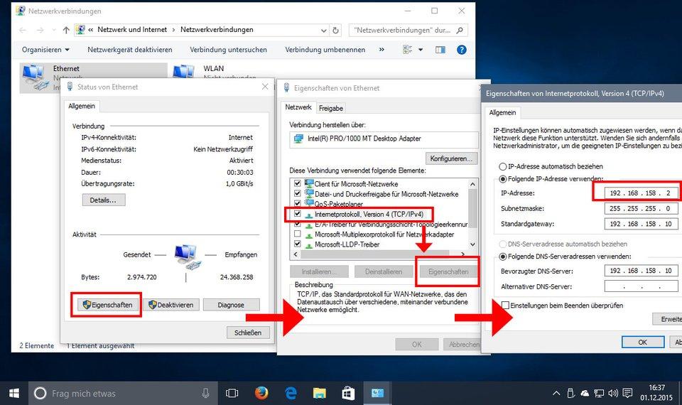 how to change ip address on laptop windows 10