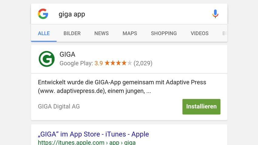 App-Installation aus der Google-Suche bald möglich - ohne