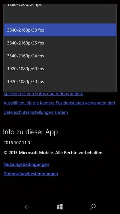 Microsoft Lumia 950 XL Kamera-Einstellungen-Video 4K