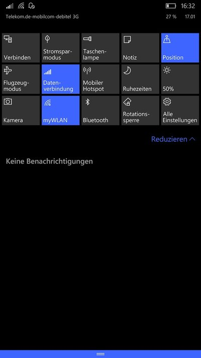 Microsoft Lumia 950 XL Windows 10 Mobile Benachrichtigungen