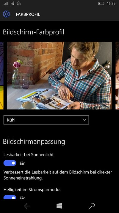 Microsoft Lumia 950 XL Windows 10 Mobile Bildschirm Farbprofil