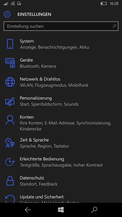 Microsoft Lumia 950 XL Windows 10 Mobile Einstellungen