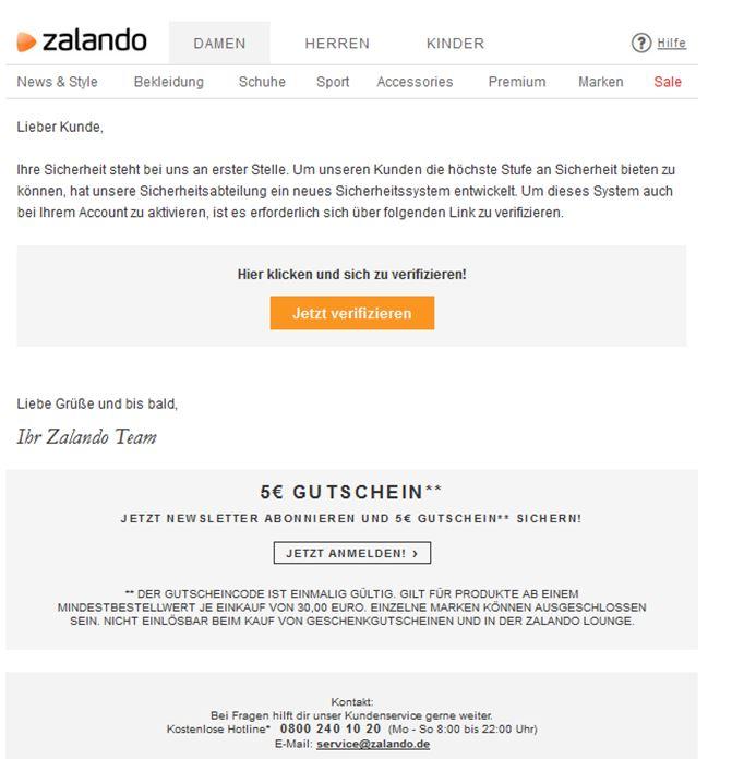 Email Von Zalando Vorsicht Vor Phishing Giga