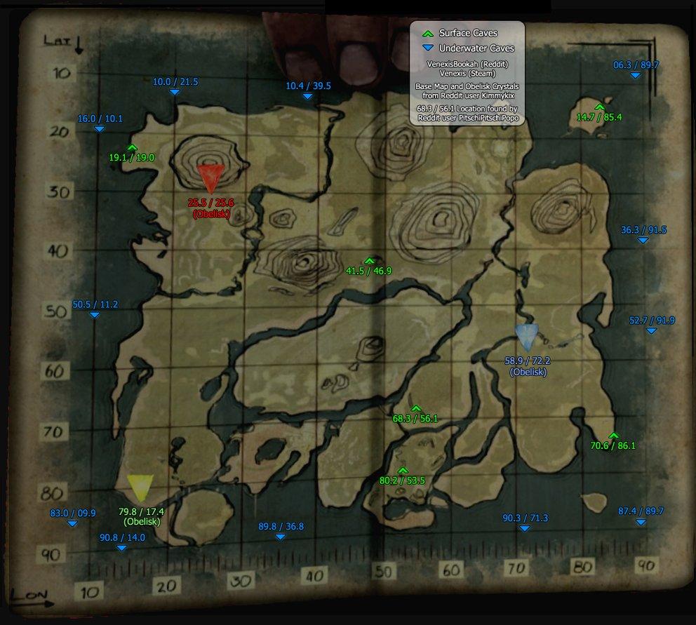 Auf dier Karte sind alle Höhlen von ARK: Survival Evolved verzeichnet