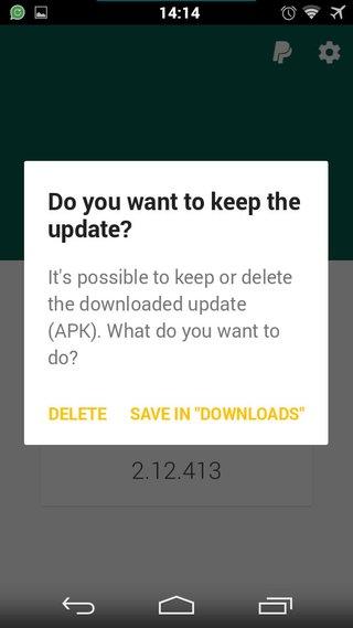 Nach der Aktualisierung könnt ihr die APK-Datei von WhatsApp speichern oder löschen.