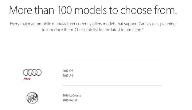 Apple veröffentlicht Liste mit allen CarPlay-kompatiblen Autos