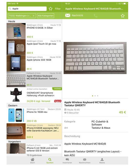 ebay kleinanzeigen app auf dem ipad nutzen so gehts. Black Bedroom Furniture Sets. Home Design Ideas