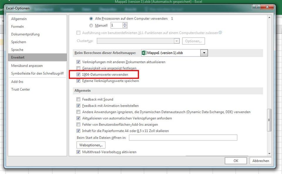 Excel: Aktiviert hier die 1904-Datumswerte.