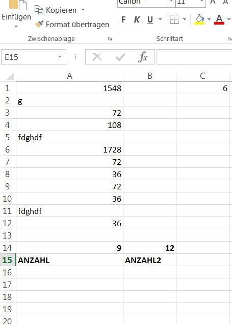 Excel: ANZAHL und ZÄHLENWENN – Bestimmte Werte zählen – GIGA