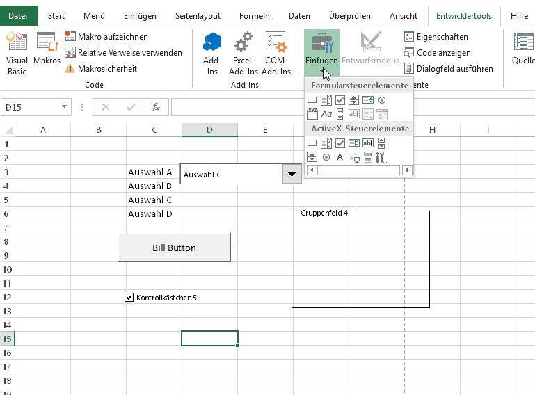 Excel Formulare Erstellen Erklärung Der Steuerelemente