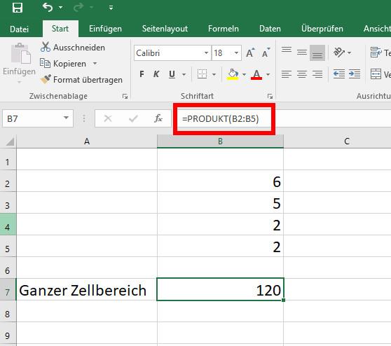 Excel: Multiplizieren von Zahlen in Zellen – so geht's