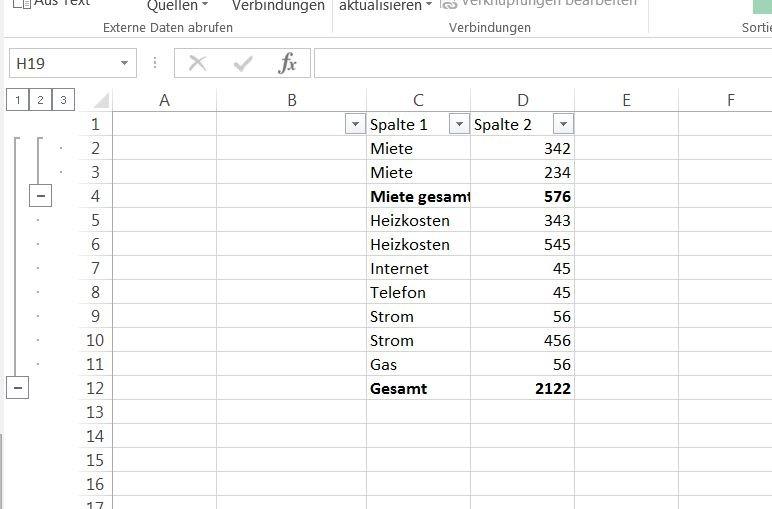 Excel: Tabellen gruppieren & gliedern – GIGA