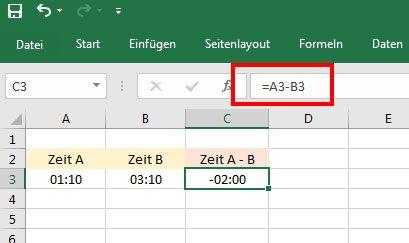 Excel rechnet jetzt mit negativen Zeiten.