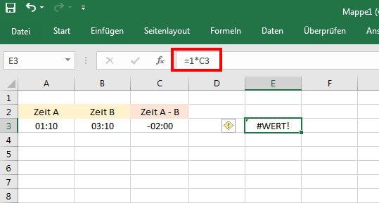 Excel kann das Ergebnis nicht berechnen, da die Zelle C3 Text und keine Zahl ist. Der Wert-Fehler erscheint.