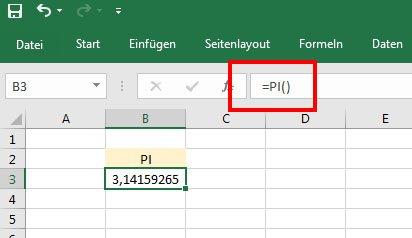 So gebt ihr die Zahl Pi in Excel als Formel ein.