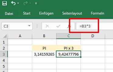 In Excel könnt ihr mit der Zahl Pi wie üblich weiter rechnen.