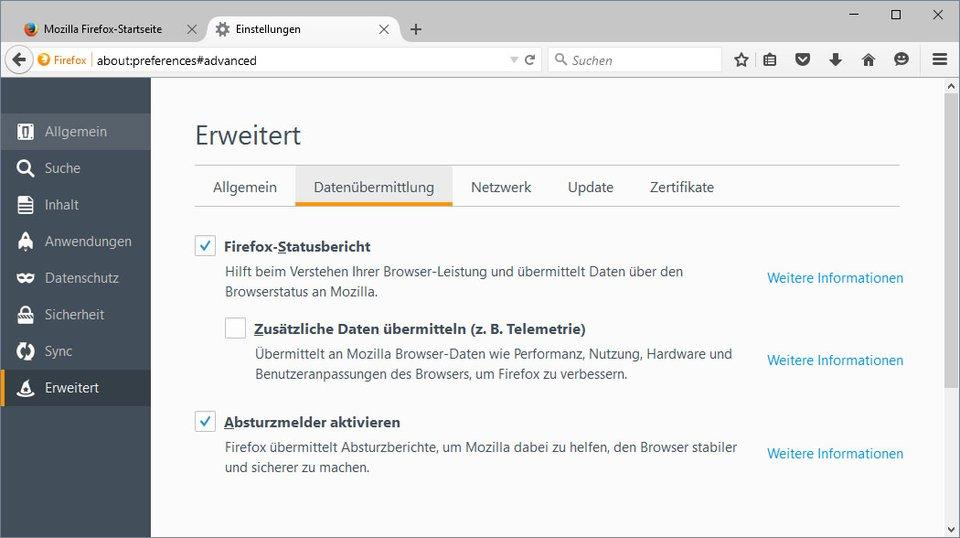 Firefox: In den Einstellungen findet sich keine Option, um das Restaurieren zu deaktivieren.