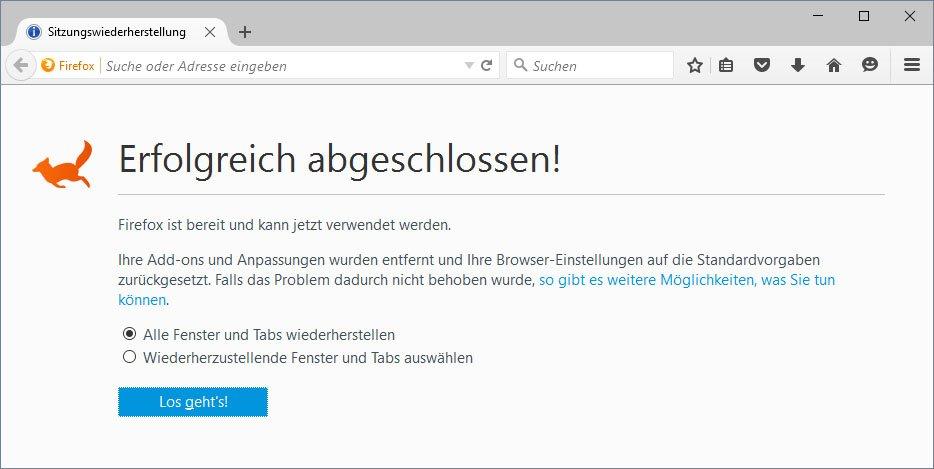 Diese Meldung zeigt Firefox nach der Restaurierung an. Sie lässt sich aber rückgängig machen.