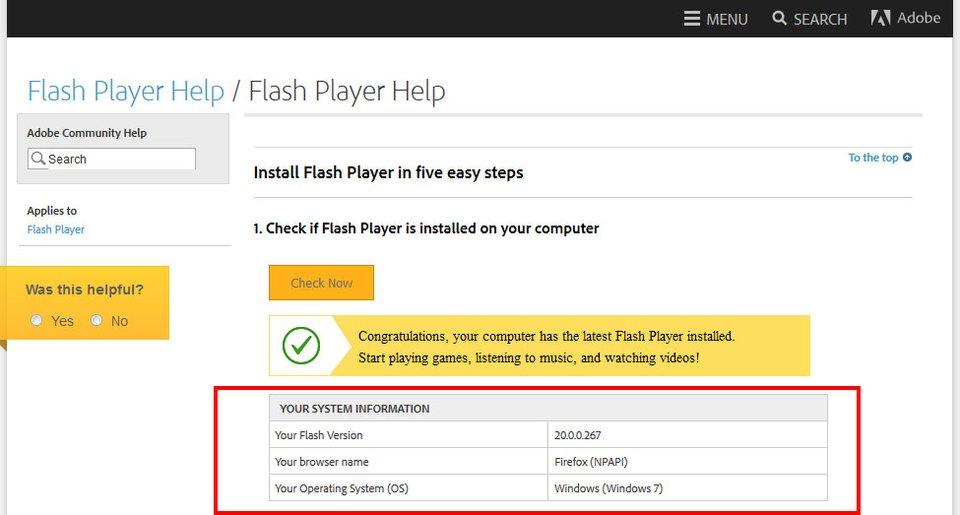 Adobe-Webseite: Hier wird eure installierte Flash-Player-Version angezeigt.