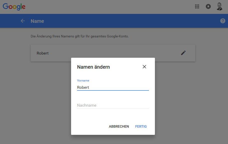 Hier ändert ihr euren Google-Namen.