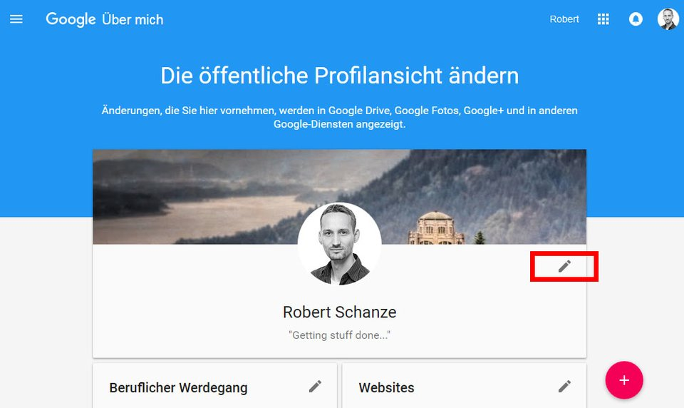 Google Plus: Die Änderung des Google-Plus-Namens findet ihr, wenn ihr auf das Stift-Symbol klickt.