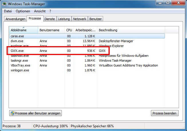 Windows 7: Der Task-Manager zeigt den Prozess GWX.exe an.