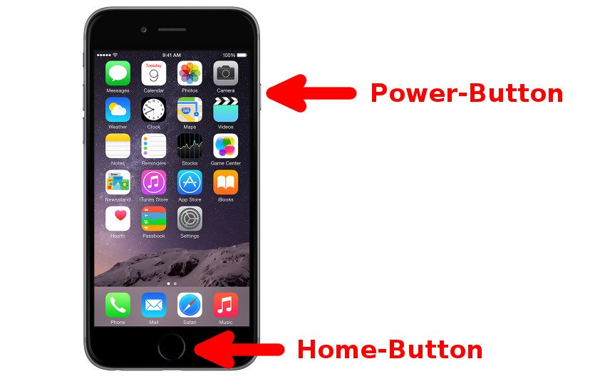 Home- und Power-Button beim iPhone 6. Bildquelle: Apple