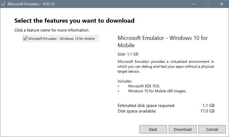 Der Download mit Windows 10 Mobile ist 1,1 GB groß.