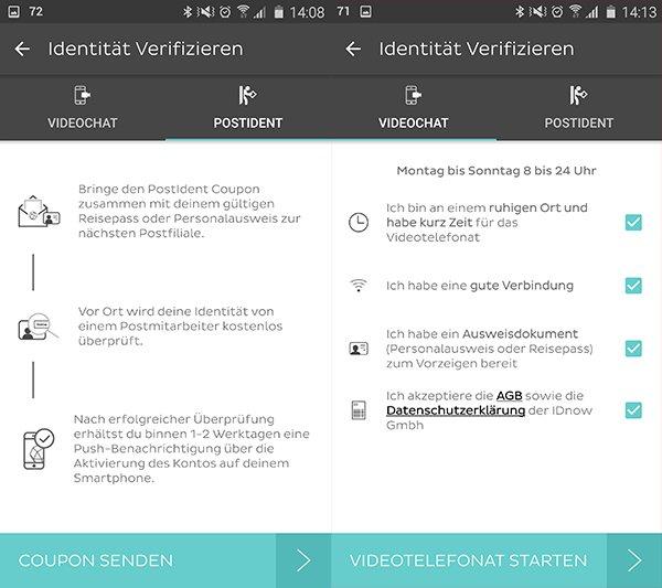 Auch die Eröffnung des Girokontos ist über die mobile App bei Android und iOS möglich.