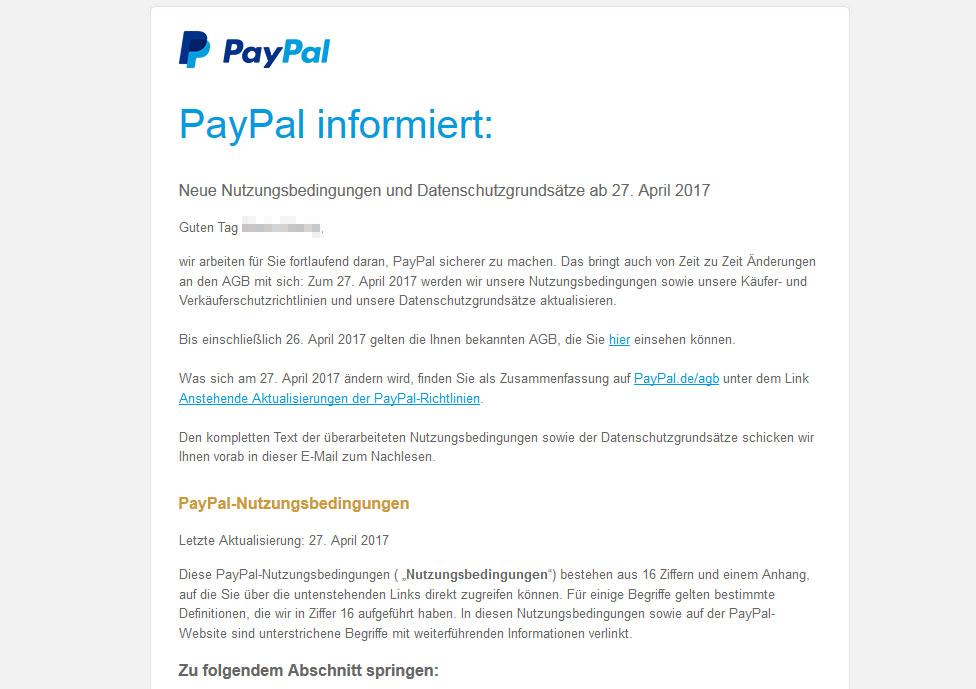 Die AGB von Paypal ändern sich (27. April 2017) – E-Mail echt oder ...