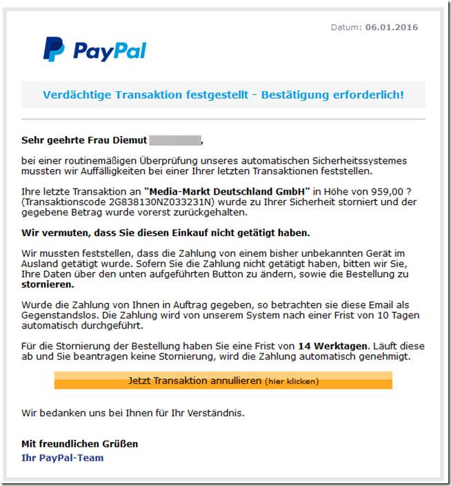 paypal zahlung an media markt deutschland gmbh betrug durch phishing giga. Black Bedroom Furniture Sets. Home Design Ideas