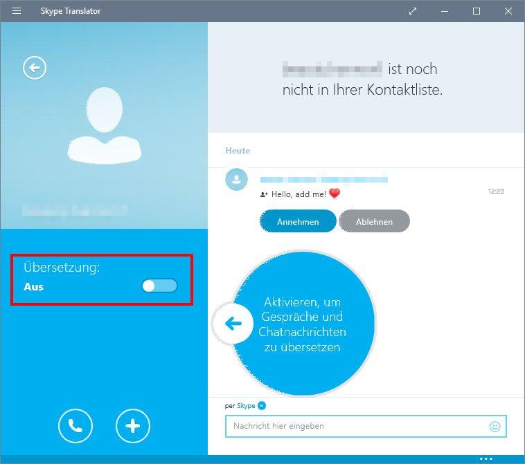 Skype Translator: Hier aktiviert ihr die Übersetzung.