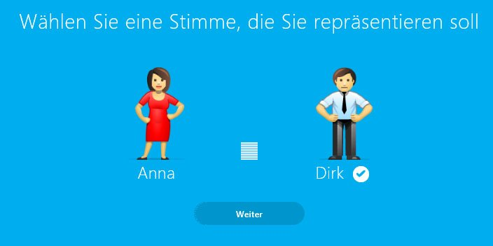 Skype Translator: Wählt aus, ob eine weibliche oder männliche Stimme für euch bei anderen Kontakten sprechen soll.