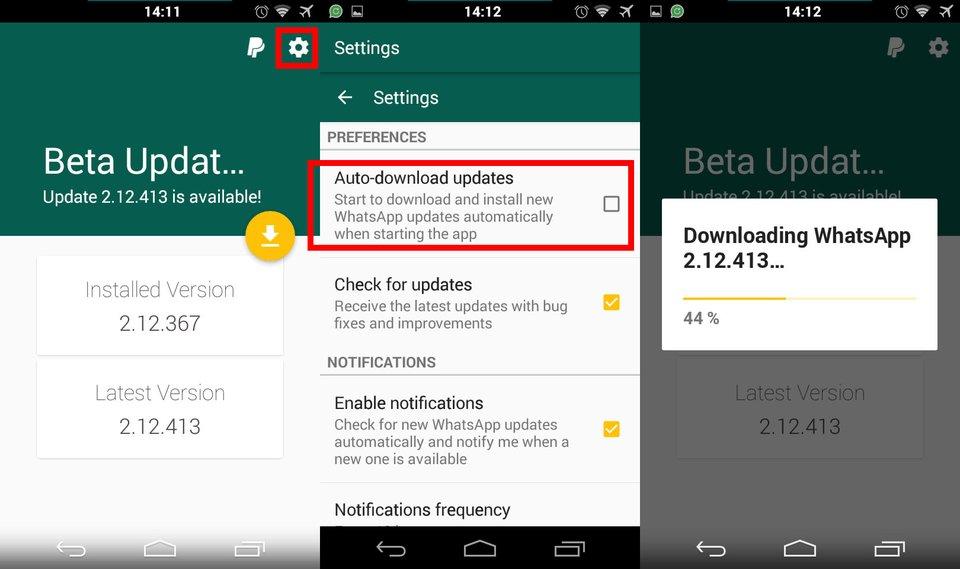 Beta-Updater for WhatsApp: Die App aktualisiert WhatsApp automatisch auf die neuste Version.