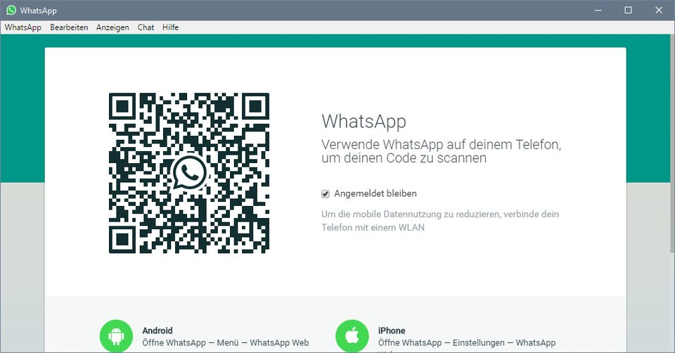 Windows 10: Scannt den Code mit der WhatsApp-App eures Smartphones.
