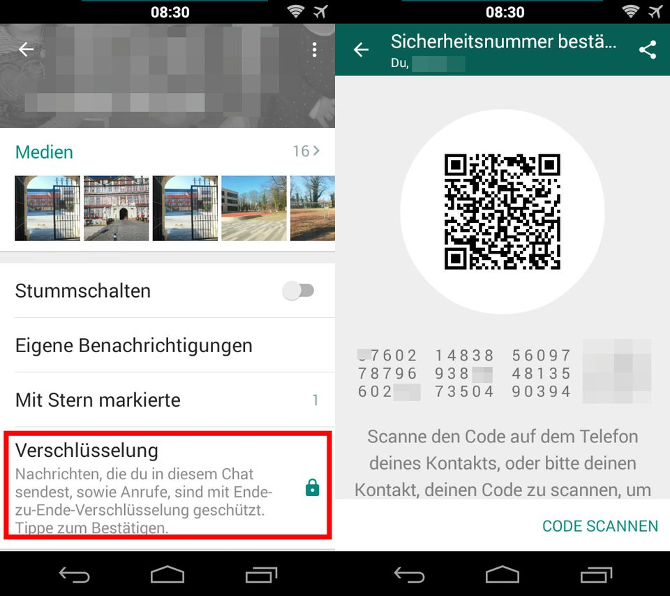 WhatsApp: Hier prüft ihr die Sicherheitsnummer eines Kontakts, wenn ihr eine Sicherheits-Benachrichtigung erhalten habt.