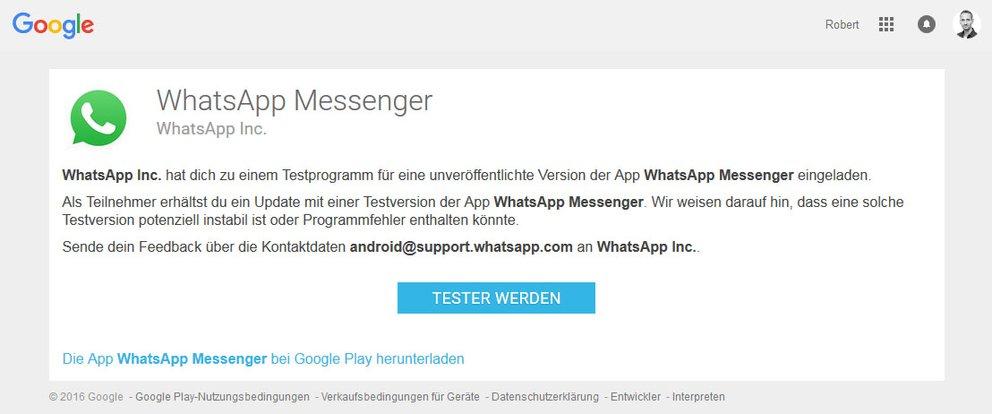 Google Play Store: Ihr könnt euch hier für das Beta-Programm von WhatsApp anmelden.