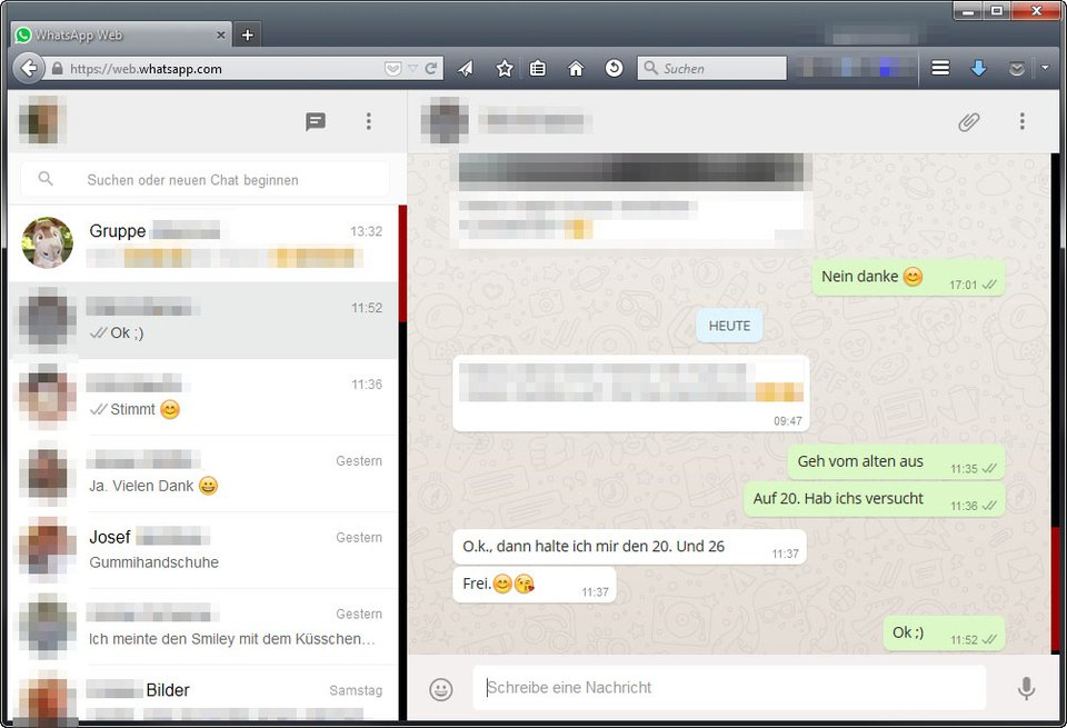 WhatsApp Web: Ihr chattet direkt im Browser in Windows 10.