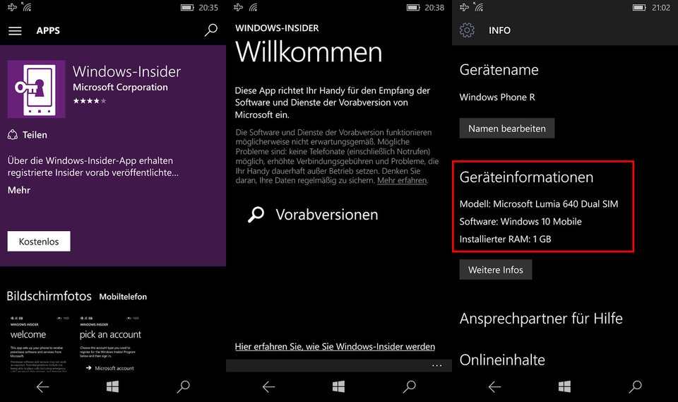 Die App installiert Windows 10 Mobile auf dem Windows Phone.