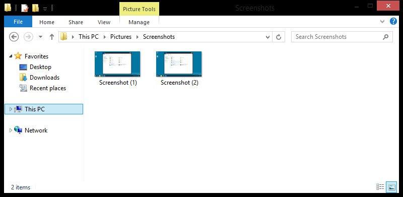 """Windows 8 erstellt Screenshots mit den Tasten """"Windows + Druck"""" automatisch in dem Bilder-Ordner."""
