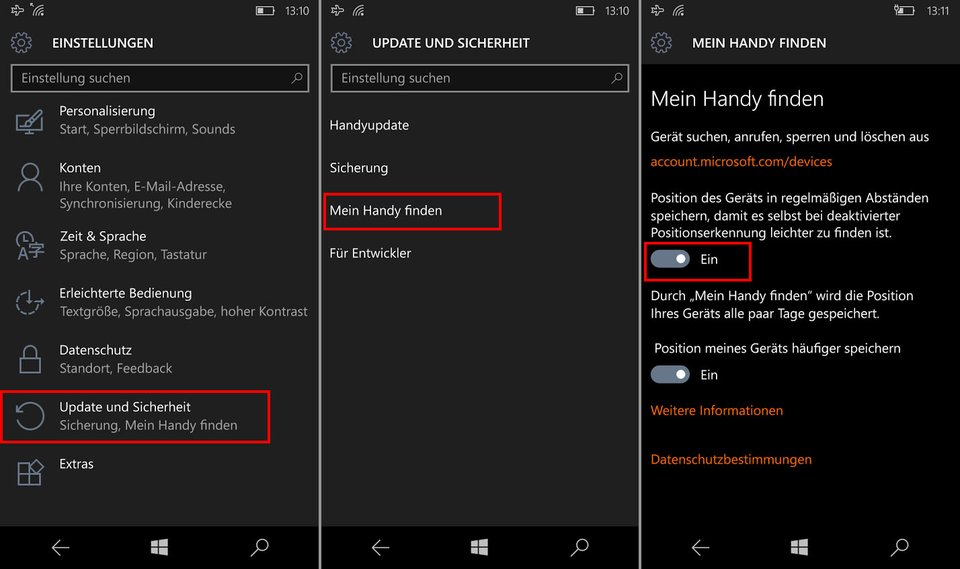 Windows 10 Mobile: So aktiviert ihr das Orten eures Windows Phones.