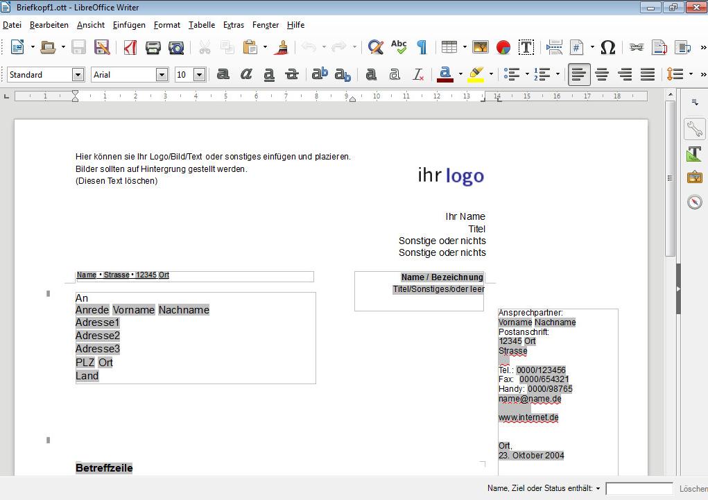 Projekt Briefvorlagen Download