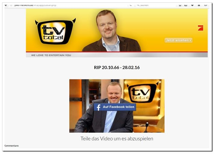 Stefan Raab tot Video Facebook