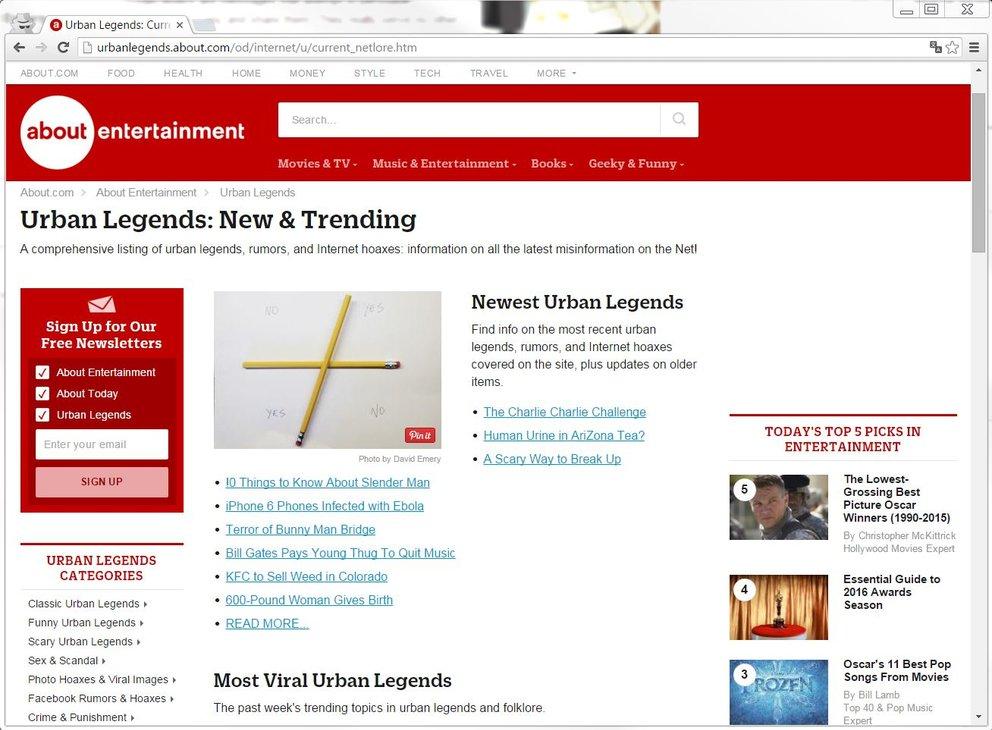 Urban legends: Auch hier sind aktuelle Meldungen zu Hoaxes auf Facebook, WhatsApp und Co. zu finden.