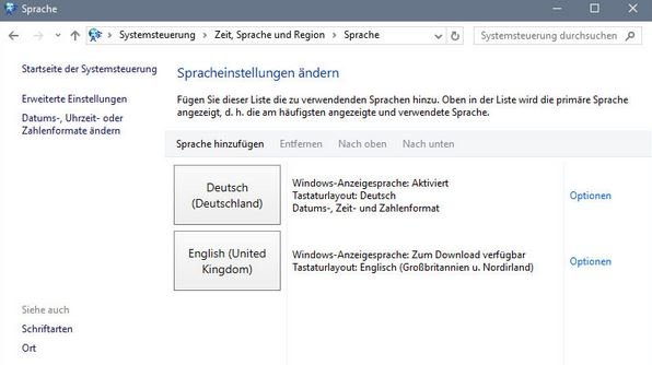 Windows 10 Sprache ändern